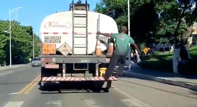 Vídeo flagra homem 'pongando' em caminhão para furtar combustível em Candeias