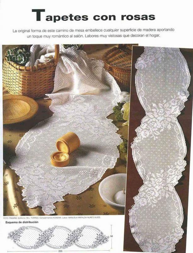 Camino de mesa crochet con finisimo diseño
