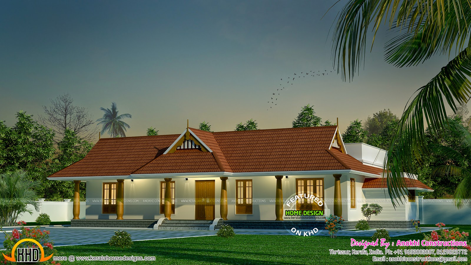 Small traditional nallukettu house kerala home design for House plans with photos in kerala style