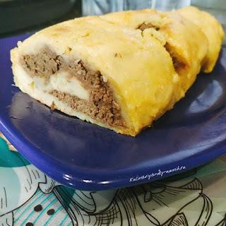 Картофельный рулет с печенью