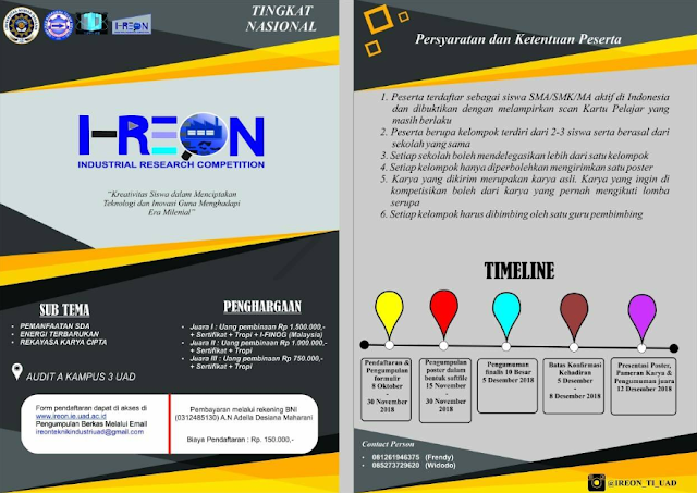 Lomba Poster Nasional Industrial Research Competition UAD 2018 untuk Pelajar