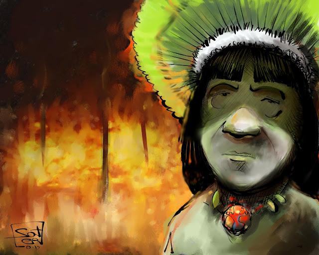 Παγκόσμια κραυγή αγωνίας για την καταστροφή του Αμαζονίου. Μεγάλες πυρκαγιές καταστρέφουν εδώ και μέρες για μια ακόμη φορά μεγάλες εκτάσεις τροπικών δασών του Αμαζονίου. Μια τεράστια φυσική καταστροφή που οφείλεται εν πολλοίς στην ανθρώπινη παρέμβαση - Σκίτσο Βραζιλία - Μπολσονάρο - Ιθαγενείς