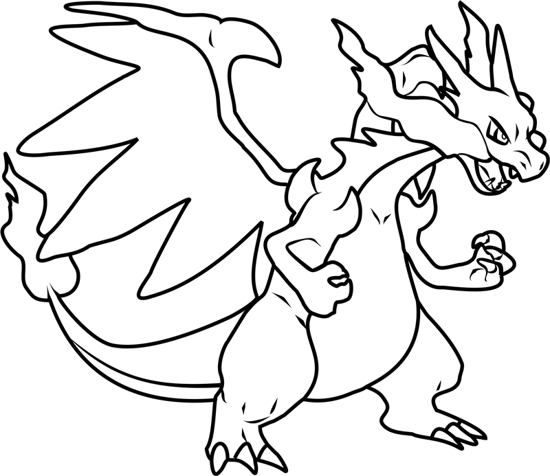Click to see printable version of Mega Charizard X Coloring page