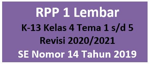 Download RPP 1 Lembar K13 Kelas 4 Tema 1-5 Revisi 2020/2021