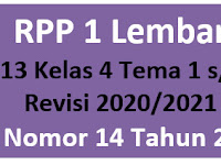 Download RPP 1 Lembar K13 Kelas 4 Tema 1-5 Revisi 2020/2021