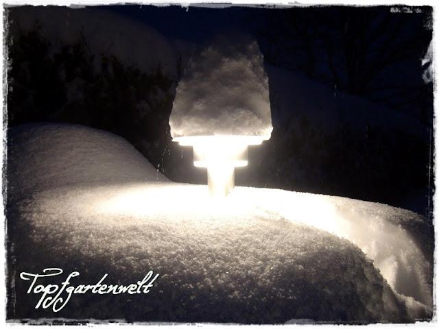Gartenblog Topfgartenwelt Winter: tiefverschneite Außenbeleuchtung auf Mülltonnenbox