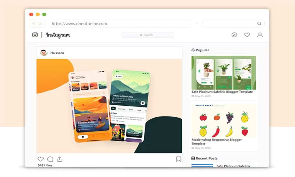 instagram blogger template download