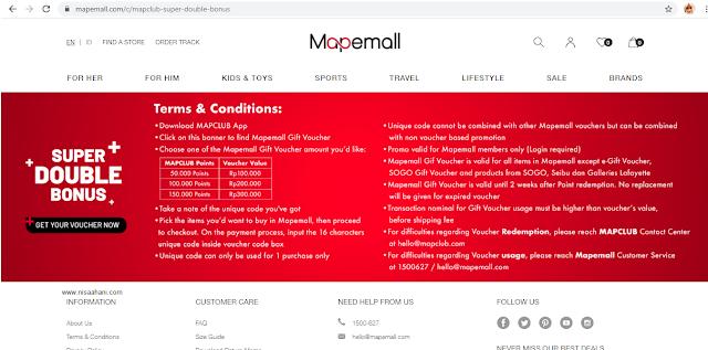 Syarat dan ketentuan Super Double Bonus Mapemall