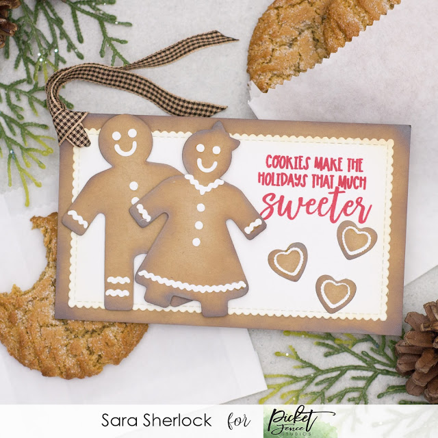 """Fun holiday tag for treats.  Created with Picket Fence Studios """"Gingerbread People"""" stamp set, Gingerbread Betty, and Gingerbread Bob Dies, and the new Mini Slim Line Stitched and Scalloped Rectangles Die Cutting System."""
