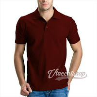 Kaos Polo Shirt Pria Warna Maroon
