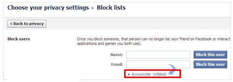 Unblock Person Facebook