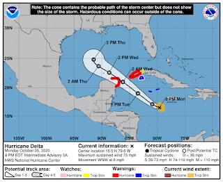"""Cancún: """"Delta"""" ya es huracán categoría 1"""