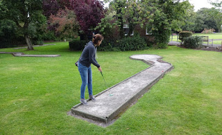 Playing Crazy Golf at Lowther Gardens in Lytham