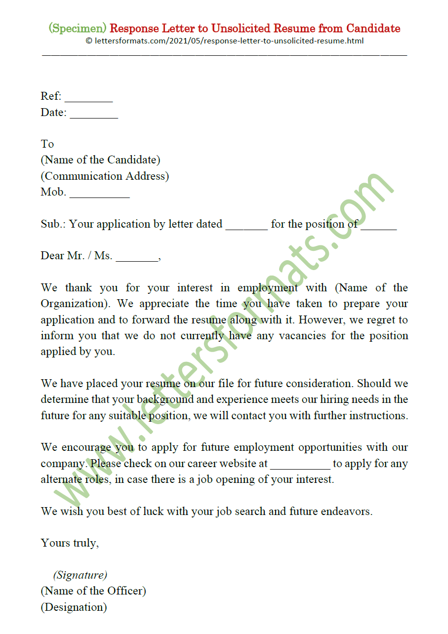 Sample unsolicited resume reply lab research resume objective