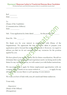 Sample Response Letter to Unsolicited Resume from Candidate
