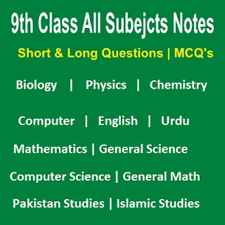 Chapter Wise Notes 9th Class MCQs and Exercises Punjab Board