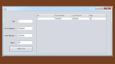 jtable add row