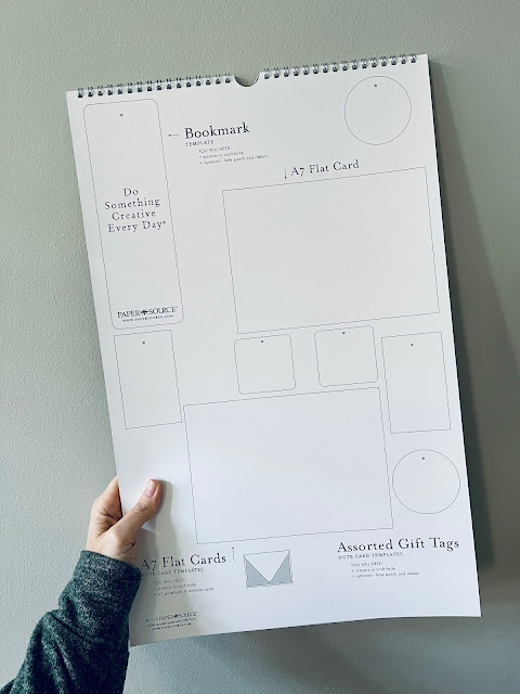 back of a calendar page depicting templates for cutting