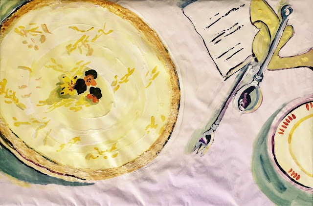 A painting of a cheesecake awarded five Michellian stars