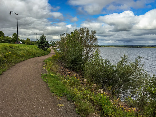 Riding along the waterfront trail in Ashland WI