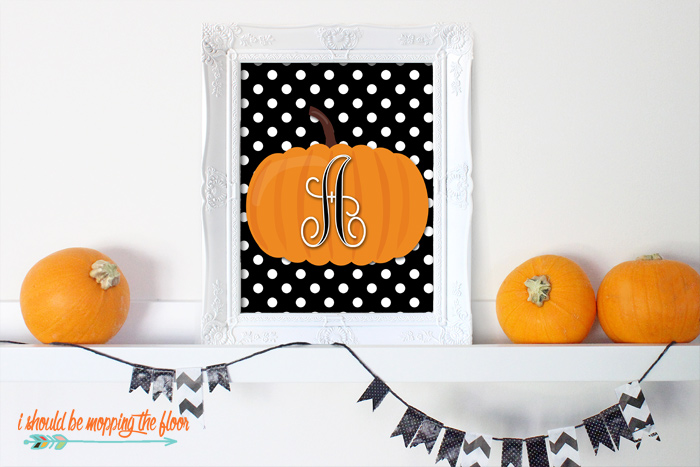Free Monogram Pumpkin Printables in letters A-Z