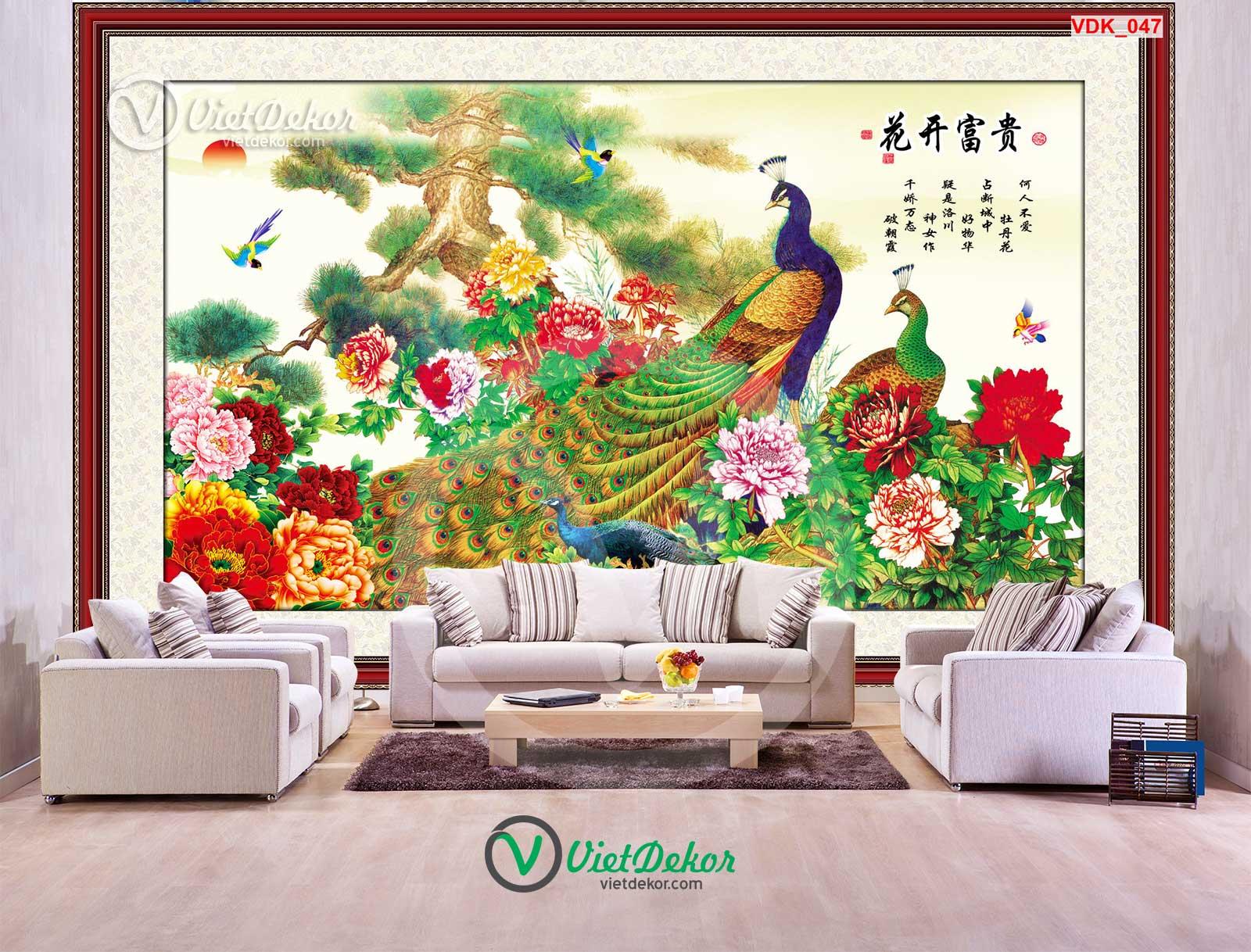 Tranh treo tường 3d hoa mẫu đơn khổng tước