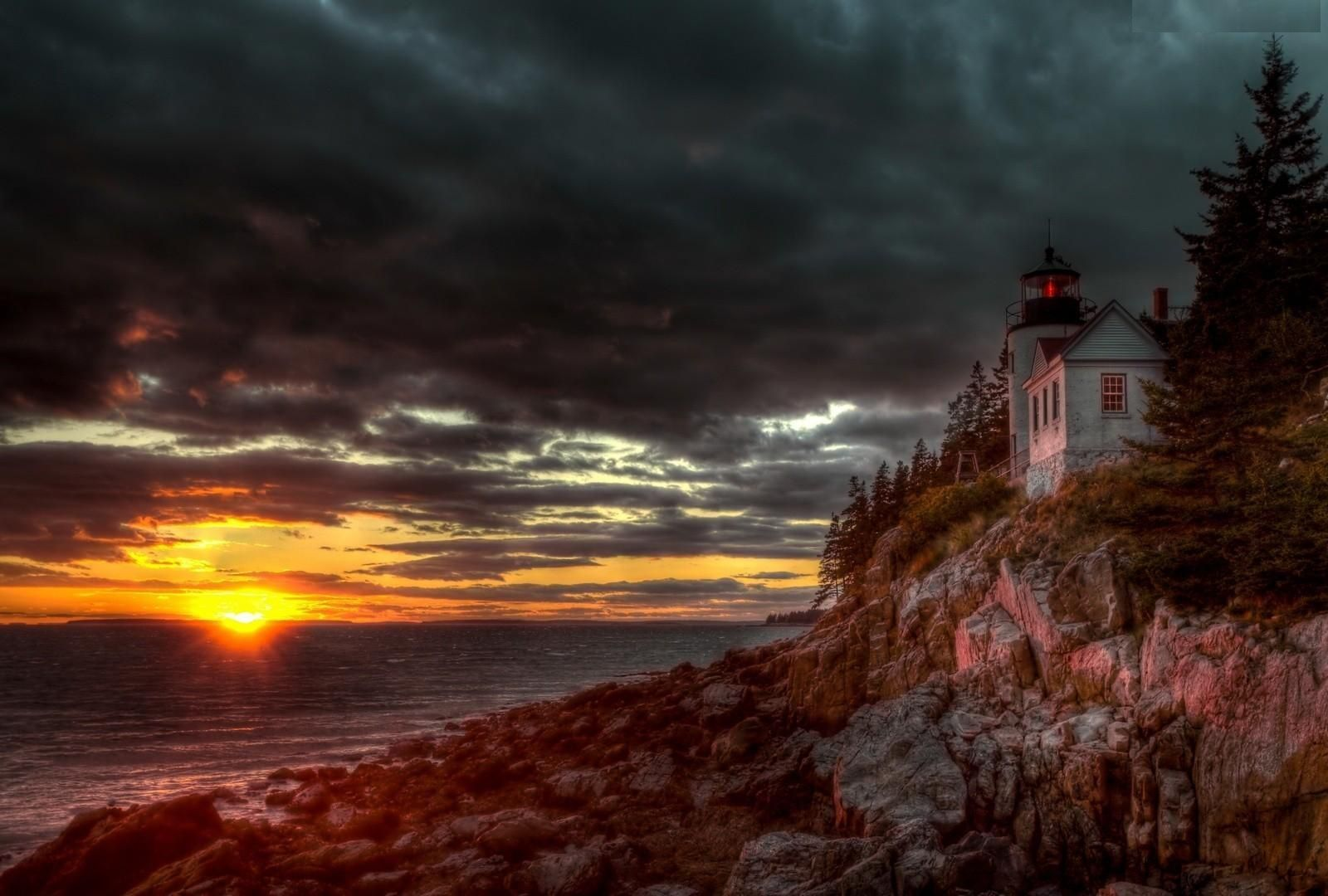 Bass Harbor Acadia National Park Sunset Clouds Cliff Fall Nature wallpaper