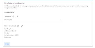 Pengisian Detail Alamat Pembayaran Google AdSense