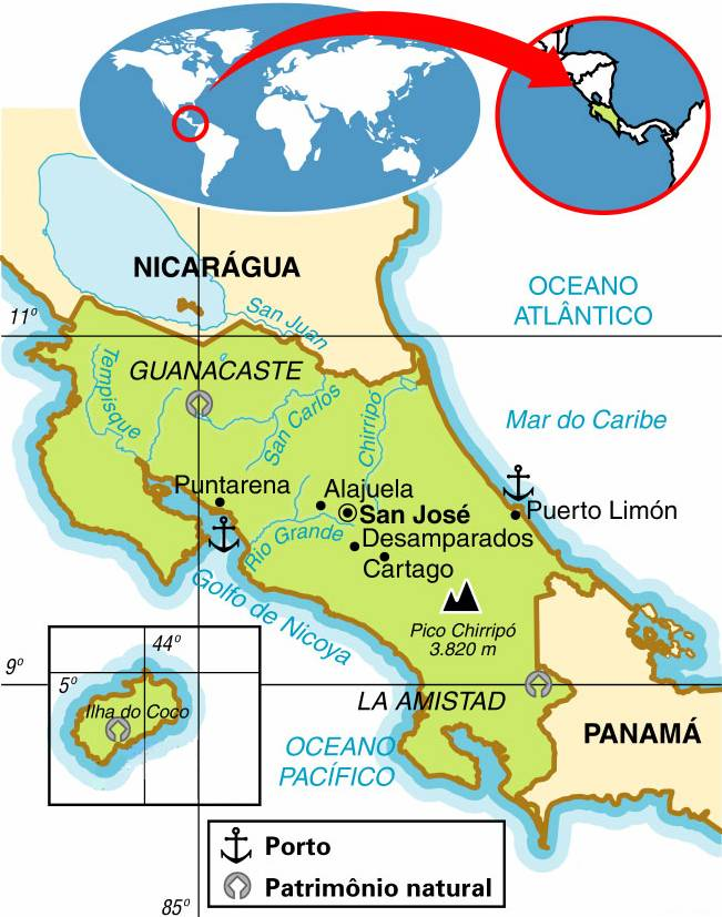 Costa Rica, Aspectos Geográficos e Socioeconômicos da Costa Rica