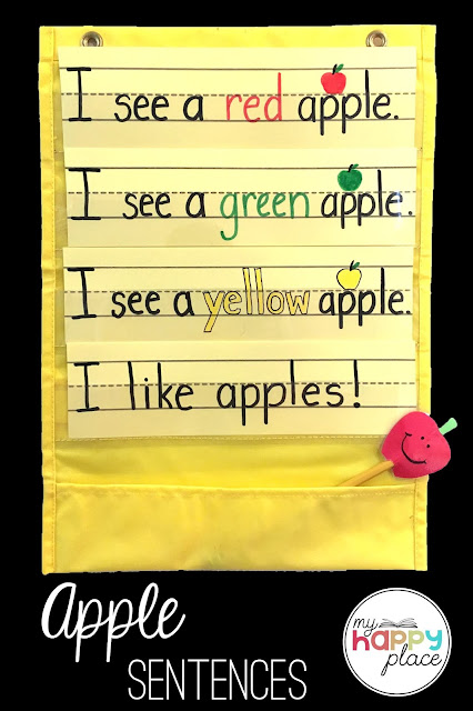 Sight Word Sentences about Apples in a Pocket Chart