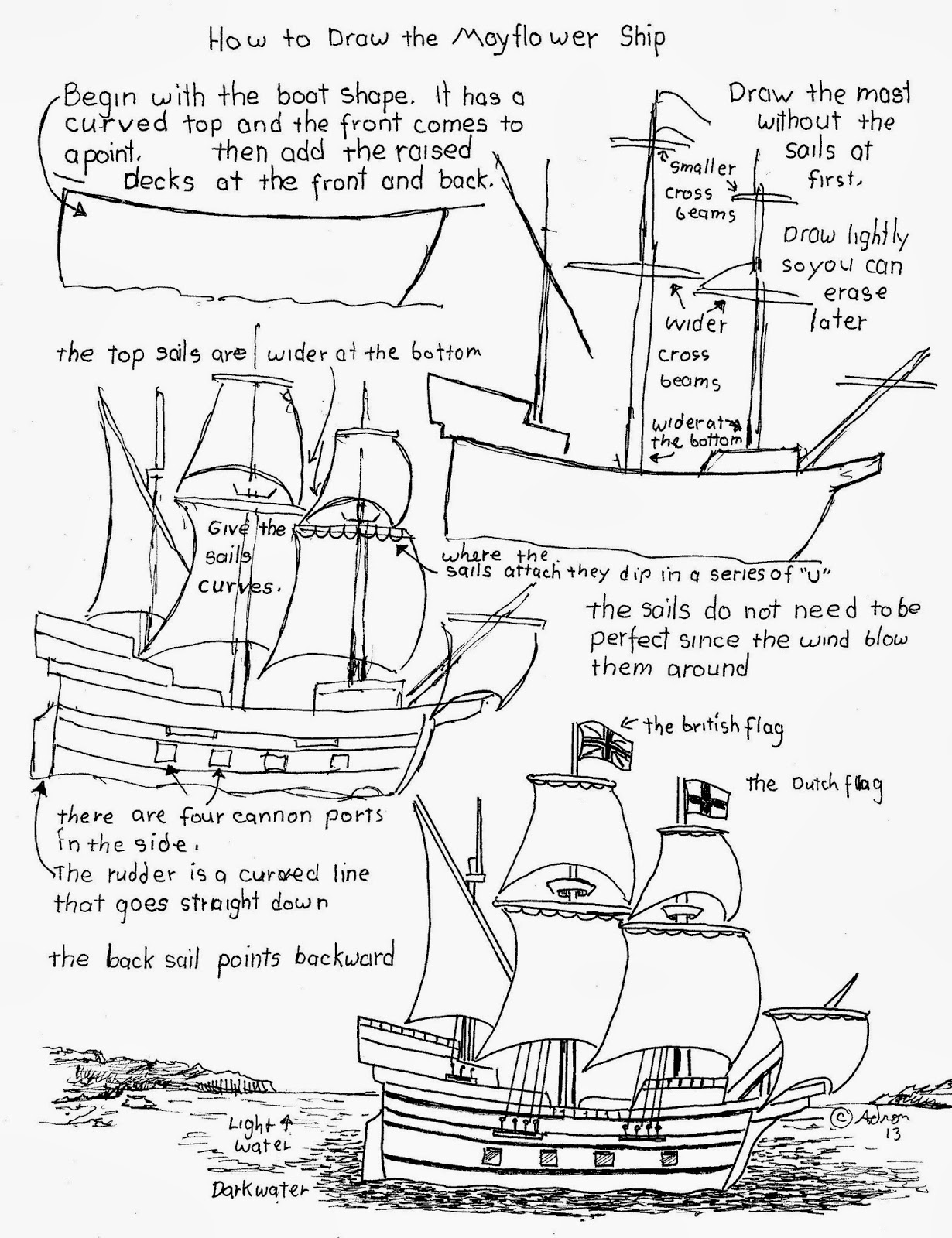 how to draw worksheets for the young artist how to draw the mayflower pilgrim ship worksheet. Black Bedroom Furniture Sets. Home Design Ideas