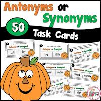 Pumpkin Antonym and Synonym Task Cards