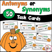 Pumpkin Antonym and Synonym Task Cards