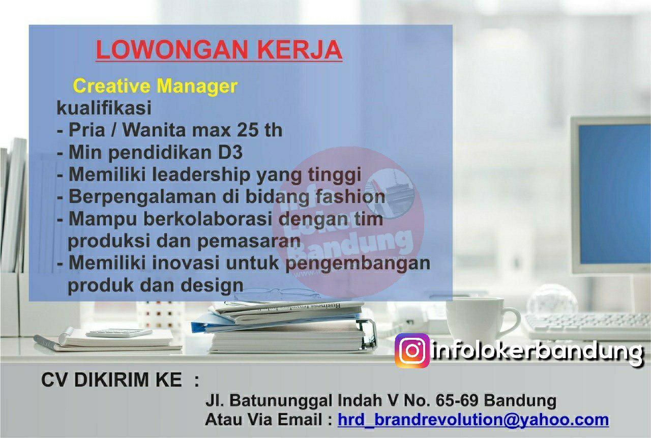 Lowongan Kerja Creative Manager Brand Evolution Bandung Februari 2019