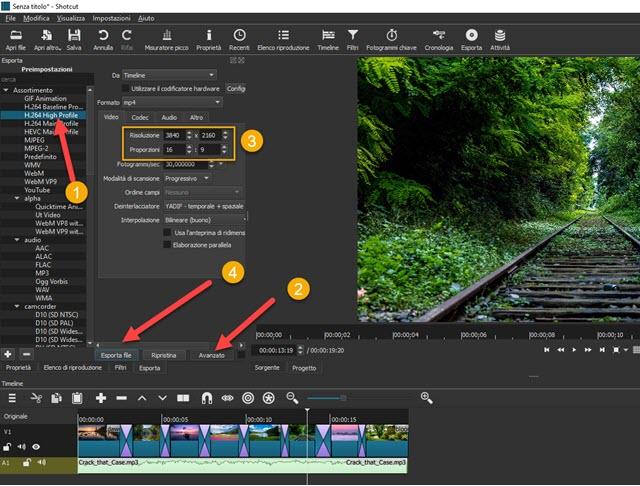esportazione slideshow di foto shotcut