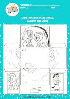 Atividade para colorir cenário da cova dos leões