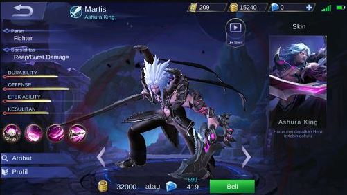 Build Item Gear dan Embel Set Hero Martis Mobile Legends Terkuat