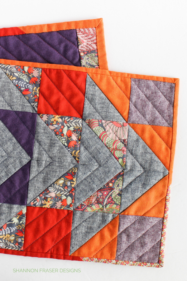 Quilting details of the Fantasy Modern Aztec Quilted Table Runner | Shannon Fraser Designs #quilts #quilters #tablerunner #homesewing