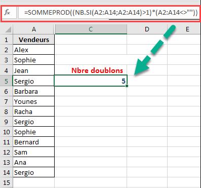NB.SI integrée dans SOMMEPROD pour trouver le nombre de doublons