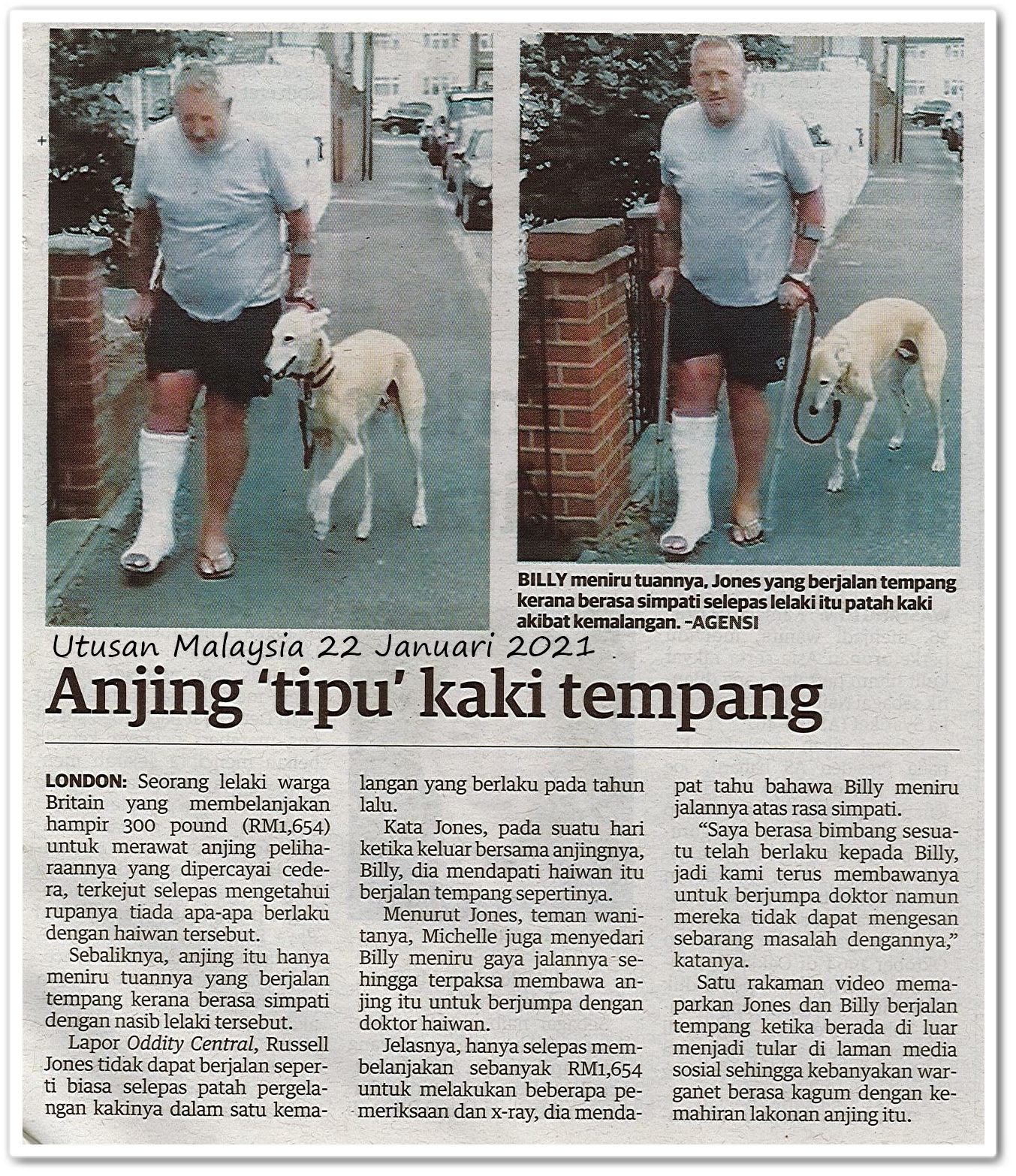 Anjing 'tipu' kaki tempang - Keratan akhbar Utusan Malaysia 22 Januari 2021