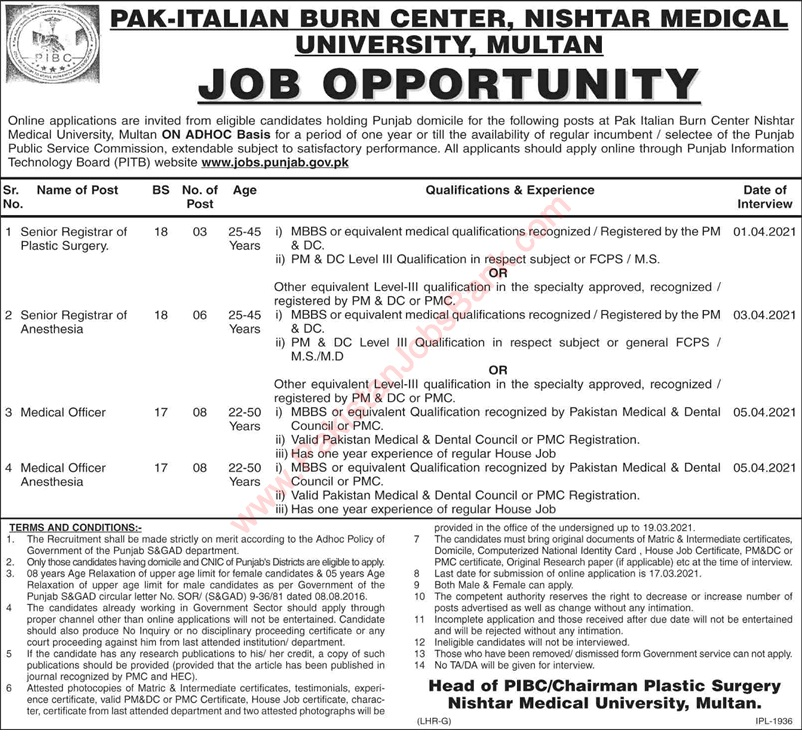 Latest Jobs in Pakistan Nishtar Medical University and Hospital Multan Jobs 2021