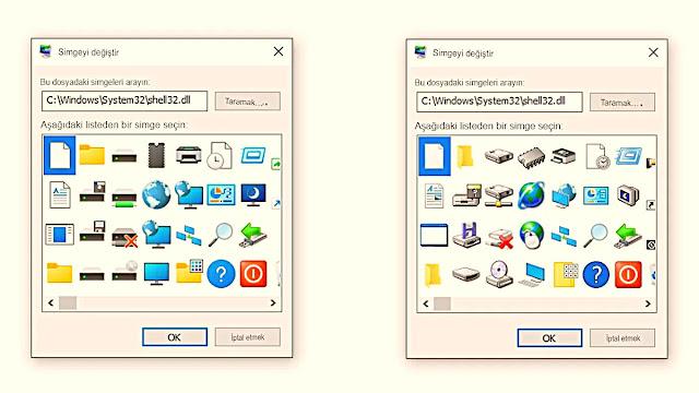 Yeni simgeler (solda) ve eski simgeler (sağda). Windows En Son Sürüm