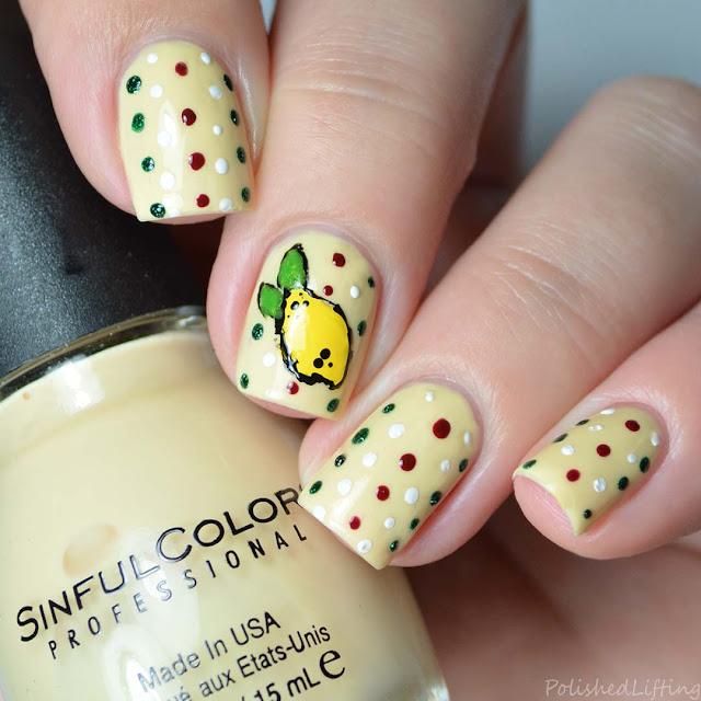 freehand lemon nail art