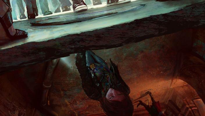 Imagem: ilustração da personagem Door, uma moça ruiva em roupas maltrapilhas, de cabeça para baixo em um túnel avermelhado e cheio de canos, e acima dela, uma calçada com os pés de várias pessoas andando na rua.