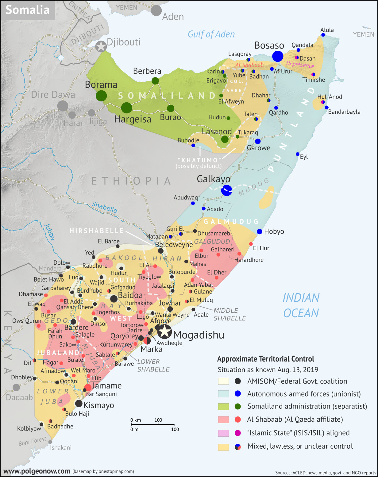 Who controls Somalia? Map (2019). With states, regions, and territorial control. Best Somalia control map online, thoroughly researched, detailed but concise. Shows territorial control by Federal Government of Somalia (FGS), Al Shabaab, so-called Islamic State (ISIS/ISIL), separatist Somaliland, and autonomous states Puntland, Galmudug, and Khatumo. Also shows boundaries of Jubaland, South West, and Hirshabelle federal states, as well as ares of operation of  anti-Somaliland militias of Khatumo and Colonel Aare. Updated to August 13, 2019. Colorblind accessible.