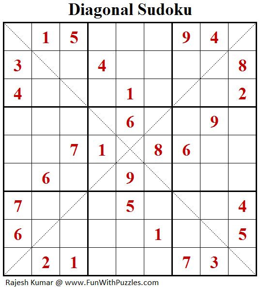 Diagonal Sudoku (Fun With Sudoku #122)