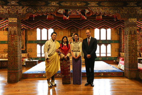 Prince William and Catherine, Duchess of Cambridge pose with King Jigme Khesar Namgyel Wangchuck and Queen Jetsun Pema visited the Golden Throne Room of the Dzong