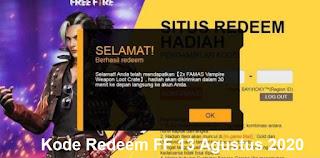 Kode Redeem FF 13 Agustus 2020