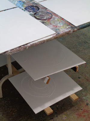 "prepping hardboards for painting  "" five seasons, dancing "" ( working title )"