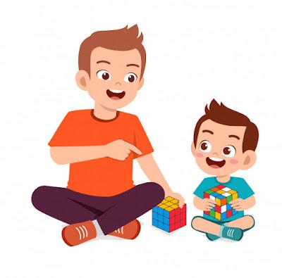bapak dan anak belajar rubik